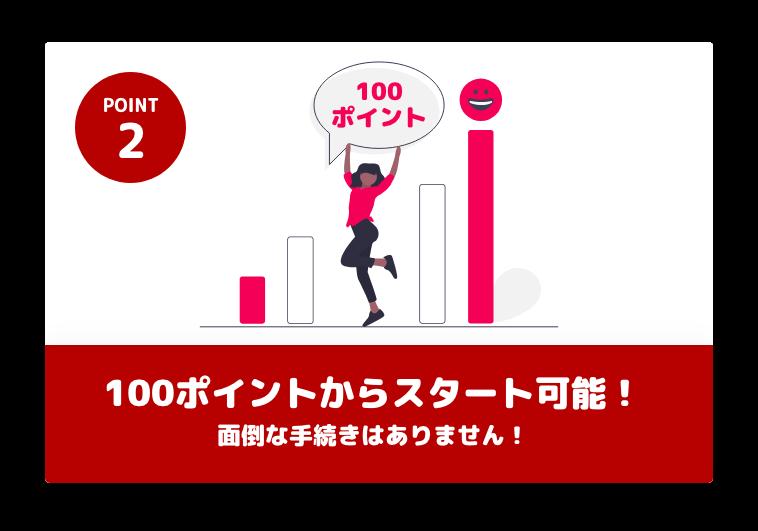 POINT2 100ポイントからスタート可能!